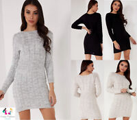 Women Cable Knitted Stretch Ladies Bodycon Short Midi Party Jumper Sweater Dress
