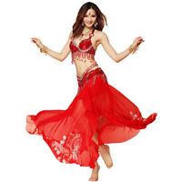 High quality Professional New Belly Dance Costume 3 pics Bra Belt Skirt 4 Colors