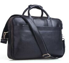 Men's Soft Bull Leather 14'' Notebook Briefcase Messenger Shoulder Business Bag