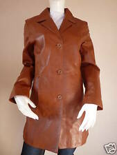 WOMENS BROWN GENUINE LEATHER 3/4 COAT by IMPERO   UK 8   £429.99   BNWT