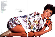 1990 Hermes Linda Evangelista on the rocks 2-page MAGAZINE AD