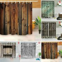Stylish Printed Bathroom Shower Curtain Set Waterproof Polyester Fabric w/Hooks