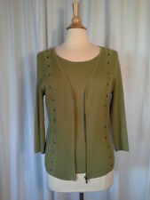 SIZE PXL - New $48.00 RQT Layered Green Ribbed Cable Knit Cardigan Zip Sweater