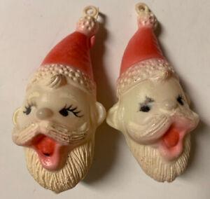 "Vtg Mid Century Plastic SANTA CLAUS HEAD Christmas Tree ORNAMENT 3 3/4""~Lot 2"