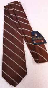 Brooks Brothers luxury brown/white tie brand new 100% wool Made In USA msrp $95
