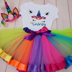 ANY NAME Unicorn Birthday Outfit Dress Rainbow Tutu Headband ALL SIZES Party top