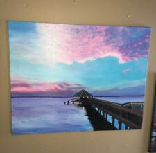 Original Painting Duck North Carolina Acrylic. Dock At The Sunset Grill 30x24""