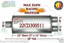 """Max Flow Muffler 22"""" Oval Body 3"""" Pipe Center/Dual 28"""" OAL 22CD300511"""