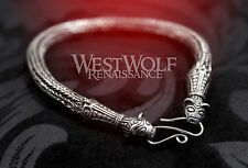 Viking Braided Knit Bear Head Bracelet in 925 Sterling Silver -- Norse/Wolf/Torc