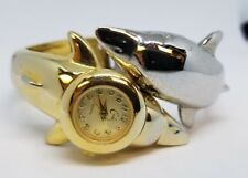 Dolphin Double sided Bracelet Watch Gold Silver Very Cute Wildlife Marine