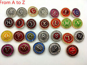 26pcs/Lot Crystal Initial letter 18mm Snap Button charm Fit Ginger Snap Jewelry