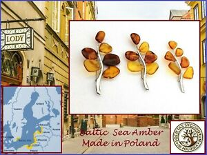 Sterling Silver Mixed Honey Amber, Yellow Amber Tree Branch Broach from Poland