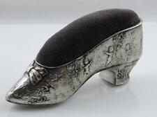 EMBOSSED SILVER PLATE LADIES SHOE PIN CUSHION