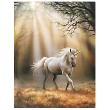 MAGICAL UNICORN CANVAS PLAQUE 'GLIMPSE' BY ANNE STOKES MYTHICAL HORSE WALL ART