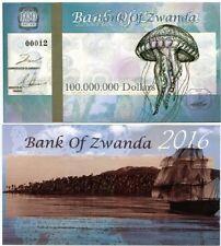 ZWANDA 100 MILLION 100000000 DOLLARS JELLYFISH 2016 - UNC - Fantasy Banknote