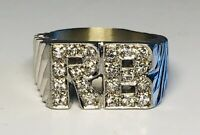 """Fine 14K White Gold With More than 0.50 CT in Diamonds """"RB"""" Ring Size 8.25"""
