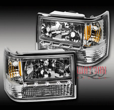 93-98 JEEP GRAND CHEROKEE LED CRYSTAL CHROME HEAD LIGHT+CORNER+BUMPER SIGNAL SET