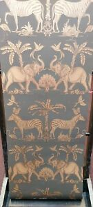 Colonial, Charcoal/Pale Gold, Animal, Metallic Wallpaper