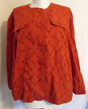 Alfred Dunner RUST Burnout sheer button front top 3/4 slv 12 *FREE SHIPPING*Nice