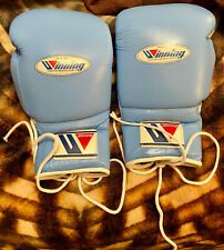 Winning Boxing Gloves Sky Blue White Lace Up 16 Oz ounce MS-600 MS 600