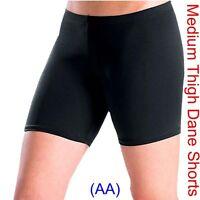 BLACK DANCE SHORTS Lycra Spandex Gym ballet salsa yoga (medium thigh) (AA)