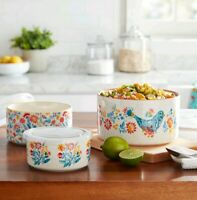 The Pioneer Woman Mazie 6-Piece Round Ceramic Nesting Bowl Set With Lid Vintage
