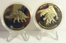 "2014 1 OZ STEGOSAURUS COIN ""The Dinosaur Collection"" Finished in 999 24k Gold"