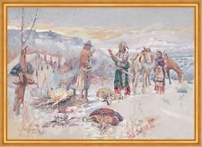 The Wolfers Camp Charles M. Russell Indianer Winter Zeltlager Beute B A1 01113