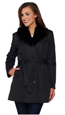 Dennis Basso Coat with Removable Faux Fur Collar and Liner,Black, Size XS, $158