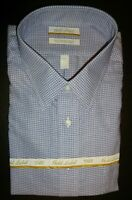 Roundtree Yorke Dress Shirt 18 - 36/37 TALL Navy Blue Dobby Tic Pattern NWT