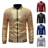 Men's Shiny Sequins Zipper Tops Party Nightclub Baseball  Jacket New LO