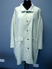 ESKANDAR Pale Celery Long Sleeves Solid  Waterproof Linen Rain Coat Sz 0 FF2687