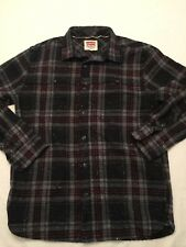Levi's Polyester Wool Blend Plaid Black Gray Shirt Medium M Button L/S