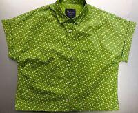 New Women's Size 10 Cotton Green Dasyi Printed Cropped Shirt by Saffron Finch