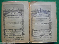 LES LETTRES PERSANES 2 TOMES MONTESQUIEU 1906 BIBLIOTHEQUE NATIONALE PFLUGER