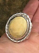 Beautiful Handmade Navajo XL Tan Yellow Natural Stone Sterling Silver Ring:
