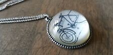 Bicycle Necklace Retro Blue Glass Cabochon Silver Whimsical Statement long chain