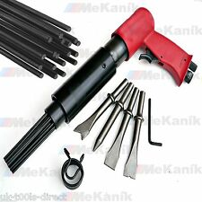 Air Hammer Descaler Needle Gun Tool Kit Paint & Rust Remover 4 x Chisels RED