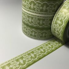 WASHI TAPE LACE ON GREEN 15MM WIDE X 10MTR ROLL SCRAP PLAN CRAFT