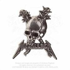 ALCHEMY ROCKS - METALLICA - DAMAGE INC. SKULL PEWTER PIN BADGE METAL HETFIELD