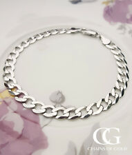 "Fine 9ct White Gold Ladies Solid Curb 6mm chain Bracelet 7.5"" GIFT BOXED"
