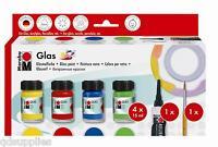 Marabu Pintura para Vidrio Set 4 X X15ml Colores Outliner & Cepillo Rojo Verde