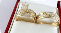 His And Hers Diamond Trio Set Wedding Band Engagement Rings 14K Yellow Gold Fn