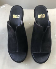 ONO Black Suede Open Toe CARA Mules Size 9M NWOT Leather Upper & Lining