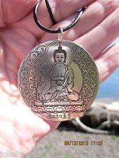 "2"" ETCHED TIBETAN BUDDHIST HEALING MEDICINE BUDDHA PENDANT LEATHER NECKLACE"