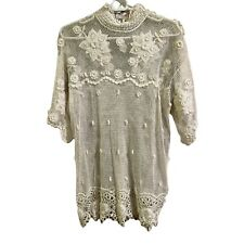 Lim'S Vintage Hand Crochet Embroidered Patchwork Cotton Short Bell Sleeve Top M