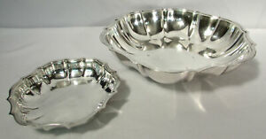 "International Silver Co Chippendale Silverplate Bowls (2) 5 3/4"" & 10"" 680 GR"