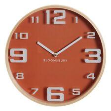 Wall Clock Orange Vitus Bloomsbury Round Wood Large Numbers Analogue Quartz New
