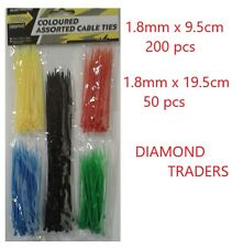 250PC CABLE TIES ASSORTED LENGTHS SIZES & COLOURS STRONG AND DURABLE