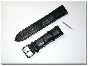 hochwertiges echt Leder Uhrenarmband Schwarz Krokodil 22mm breit 3,5mm dick 9833
